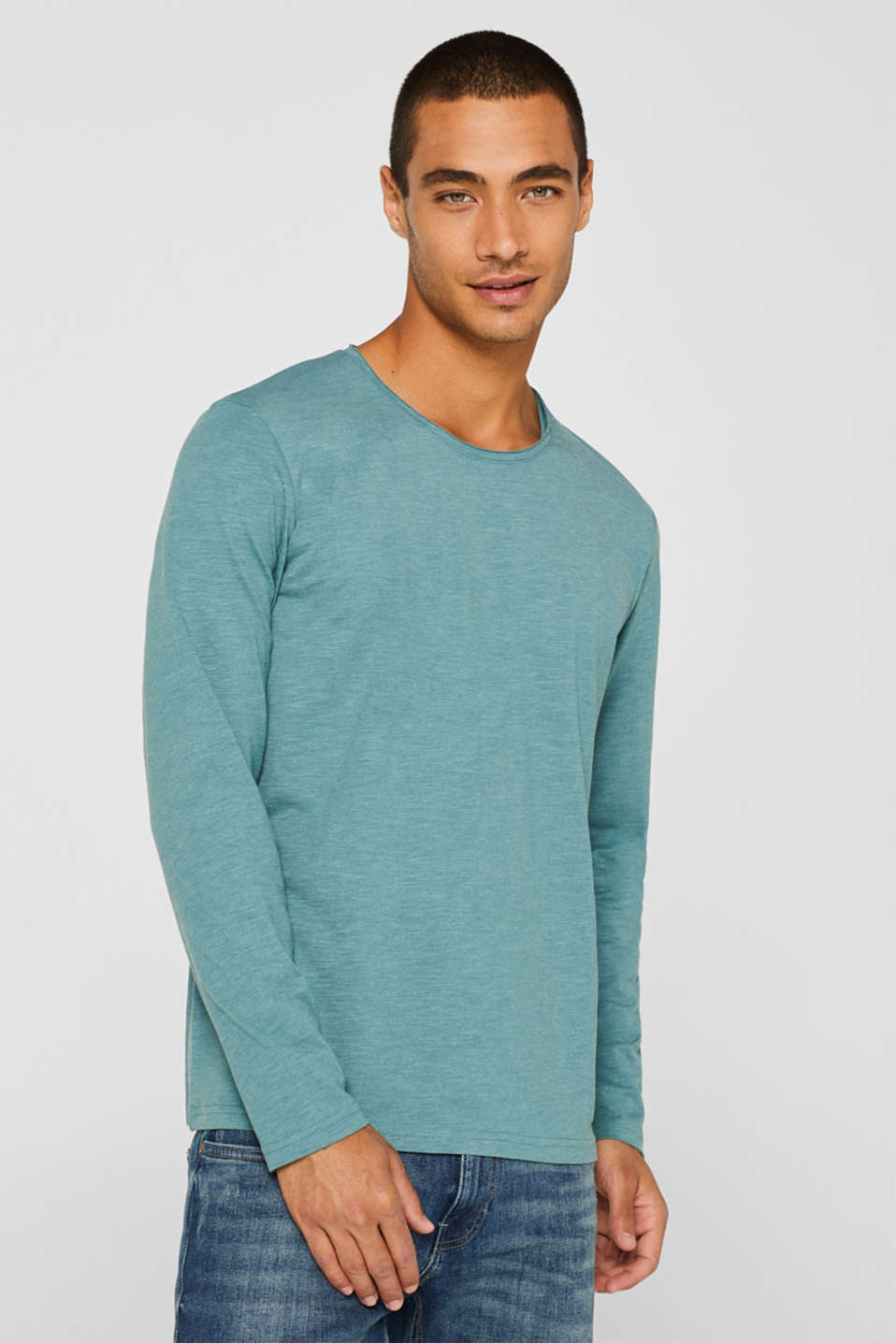 Slub jersey long sleeve top in blended cotton
