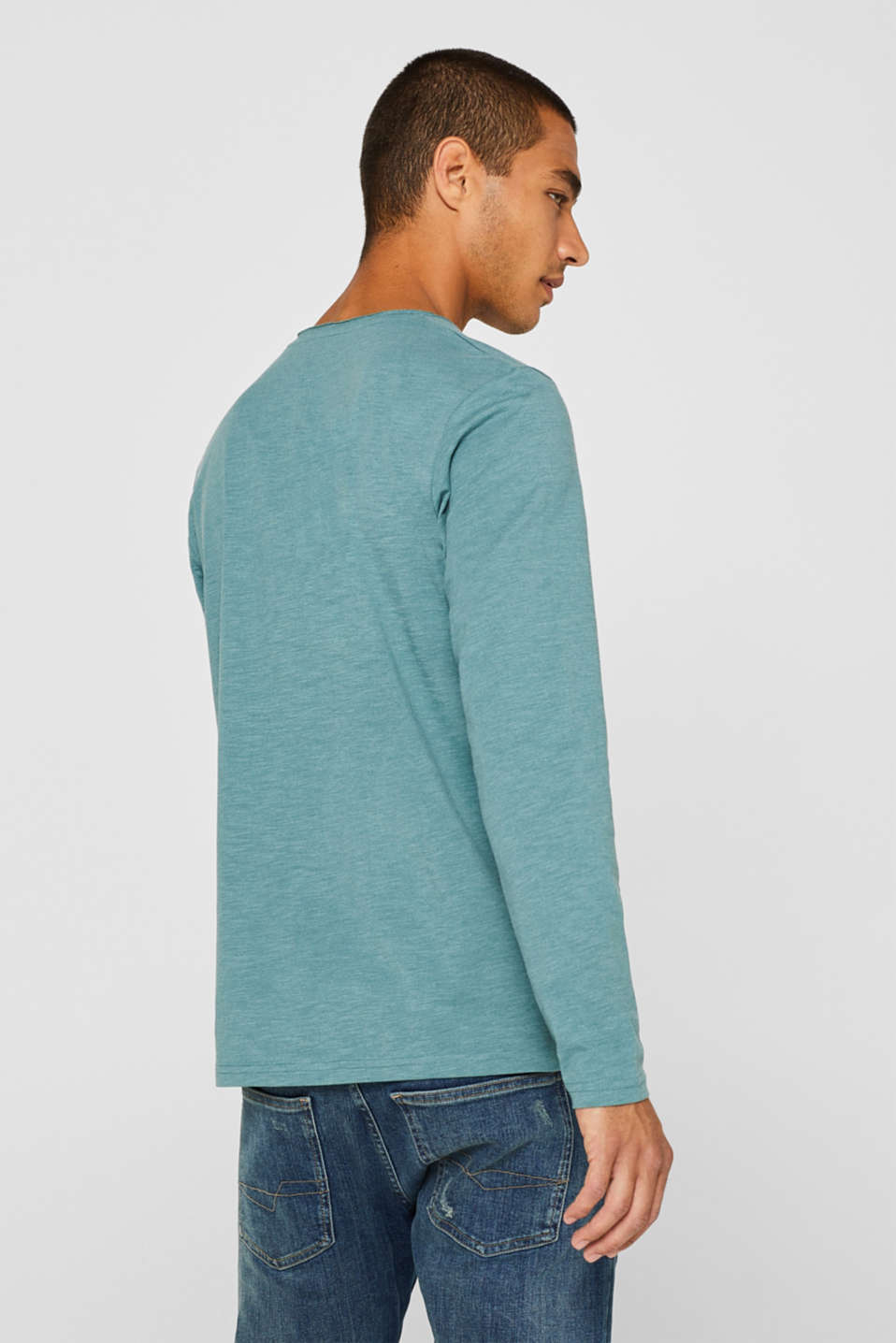 Slub jersey long sleeve top in blended cotton, DUSTY GREEN, detail image number 3