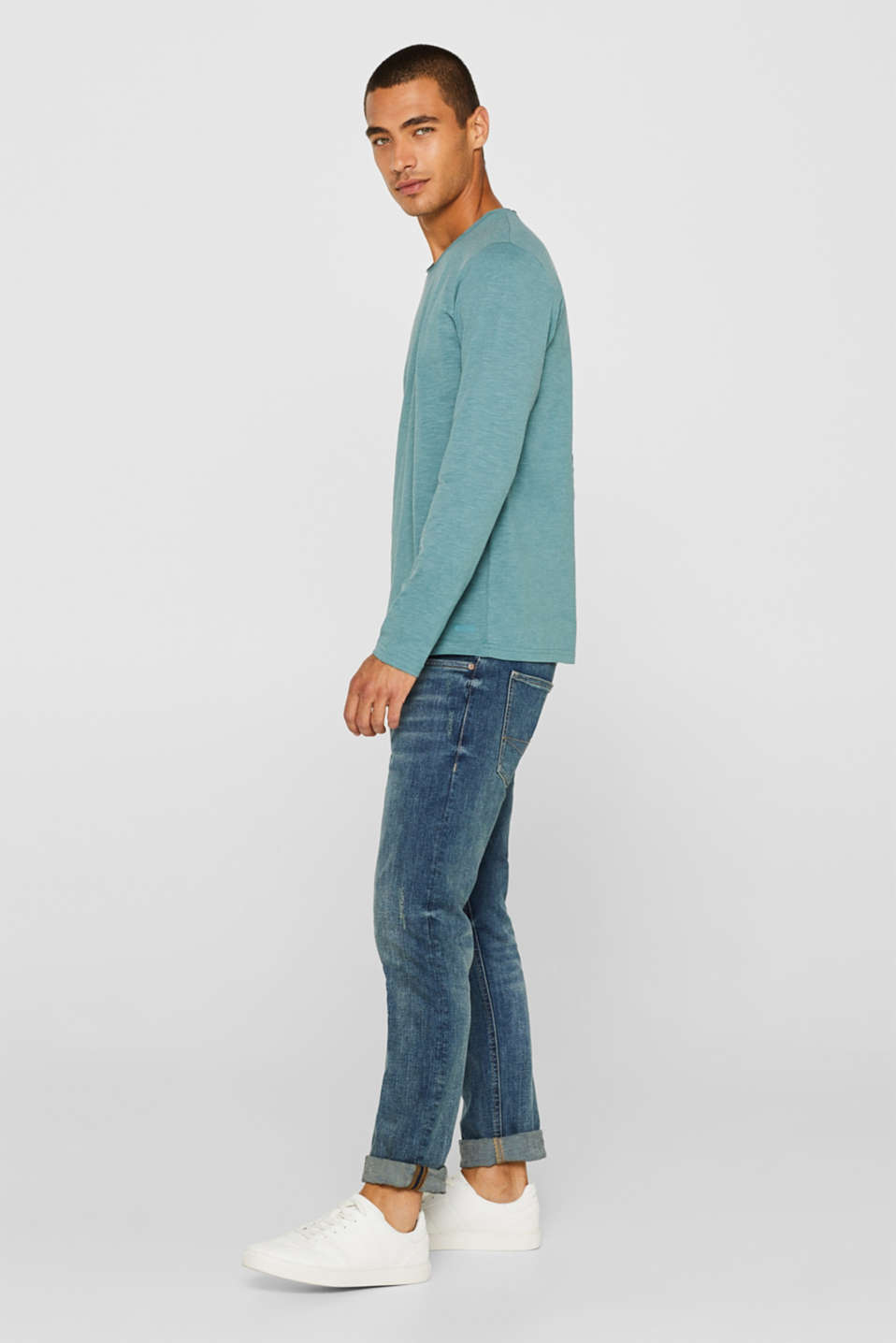 Slub jersey long sleeve top in blended cotton, DUSTY GREEN, detail image number 2