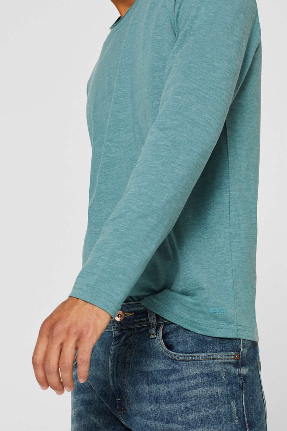 Slub jersey long sleeve top in blended cotton, DUSTY GREEN, detail image number 1