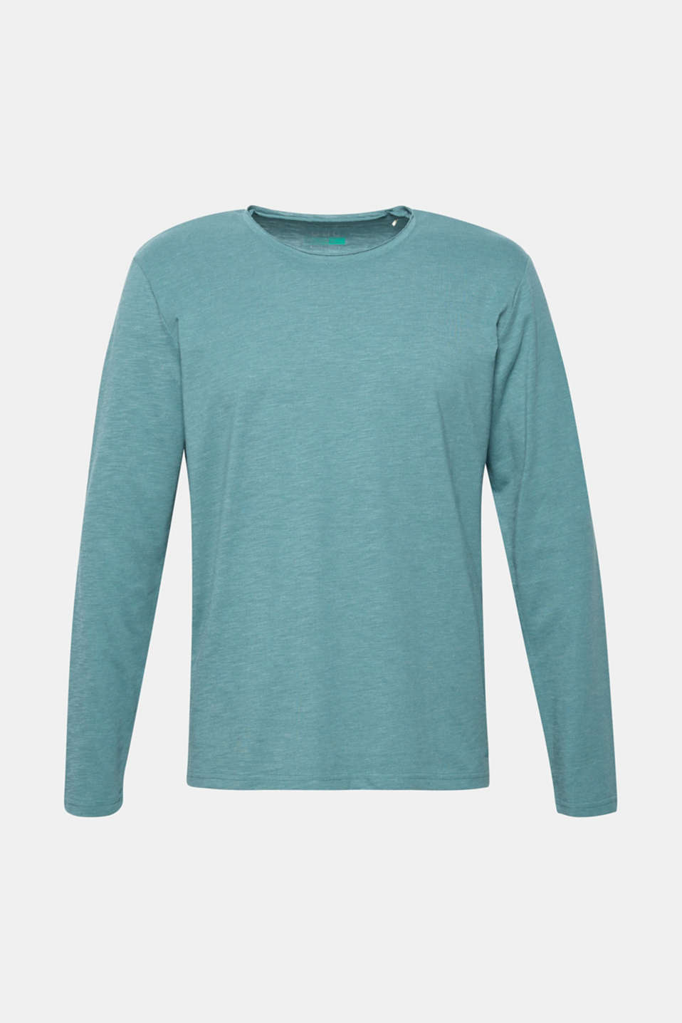 Slub jersey long sleeve top in blended cotton, DUSTY GREEN, detail image number 6