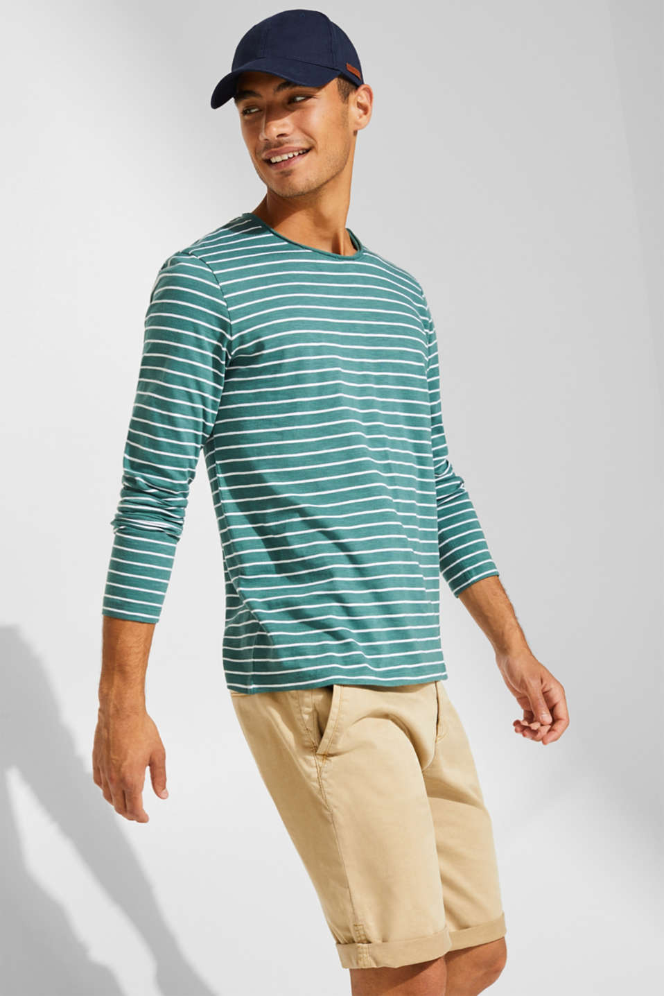 Jersey longsleeve top made of slub jersey, DUSTY GREEN, detail image number 0