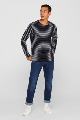 Jersey longsleeve top made of slub jersey, NAVY, detail