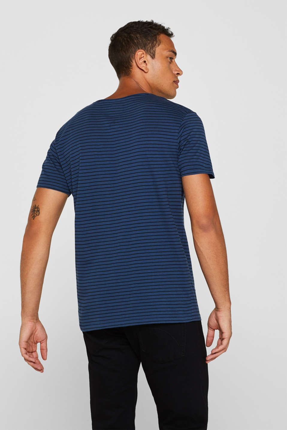 Jersey T-shirt with stripes, 100% cotton, BLUE, detail image number 3