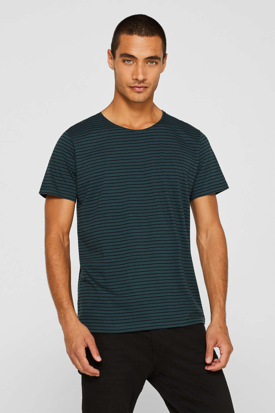 Jersey T-shirt with stripes, 100% cotton, TEAL BLUE, detail image number 0
