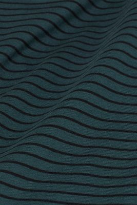 Jersey T-shirt with stripes, 100% cotton, TEAL BLUE, detail