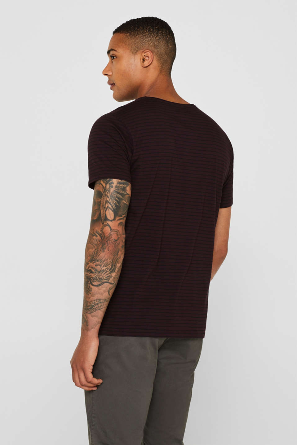 Jersey T-shirt with stripes, 100% cotton, PLUM RED, detail image number 3