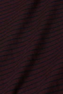 Jersey T-shirt with stripes, 100% cotton, PLUM RED, detail