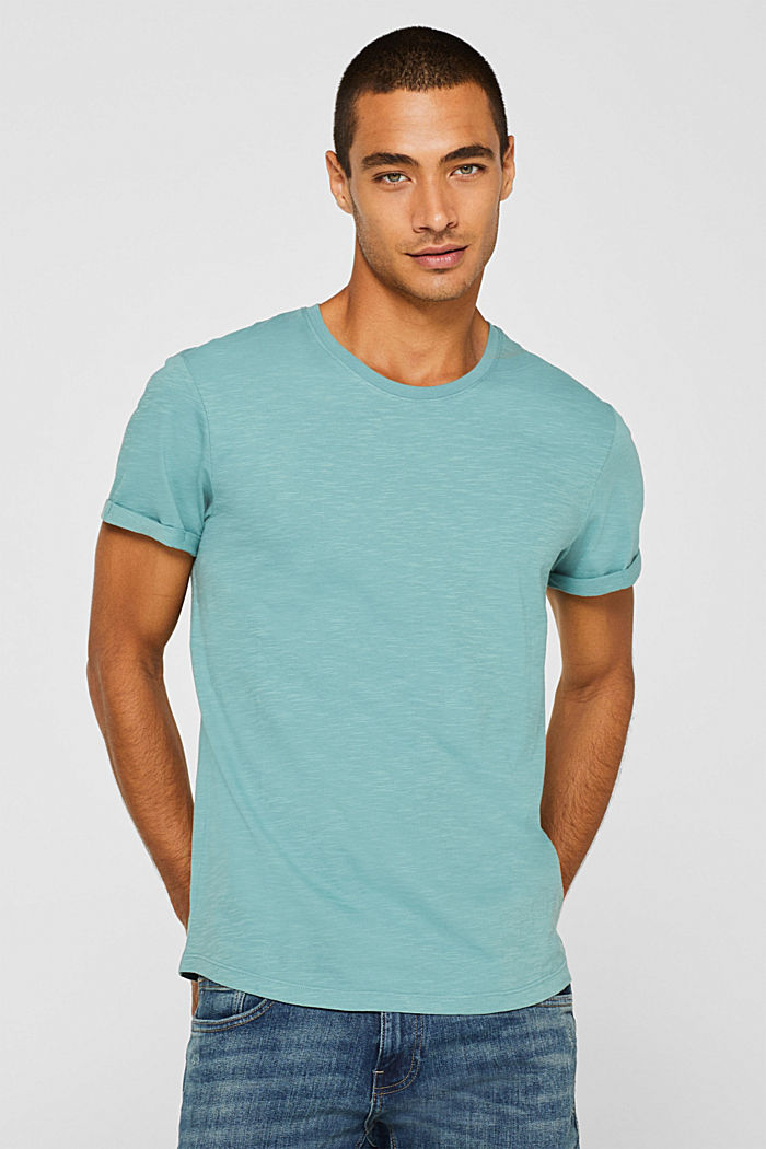 Slub jersey T-shirt in 100% cotton, DUSTY GREEN, detail image number 0