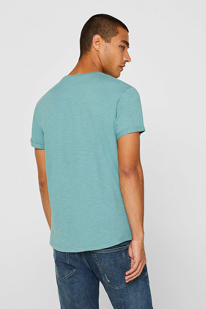 Slub jersey T-shirt in 100% cotton, DUSTY GREEN, detail image number 3