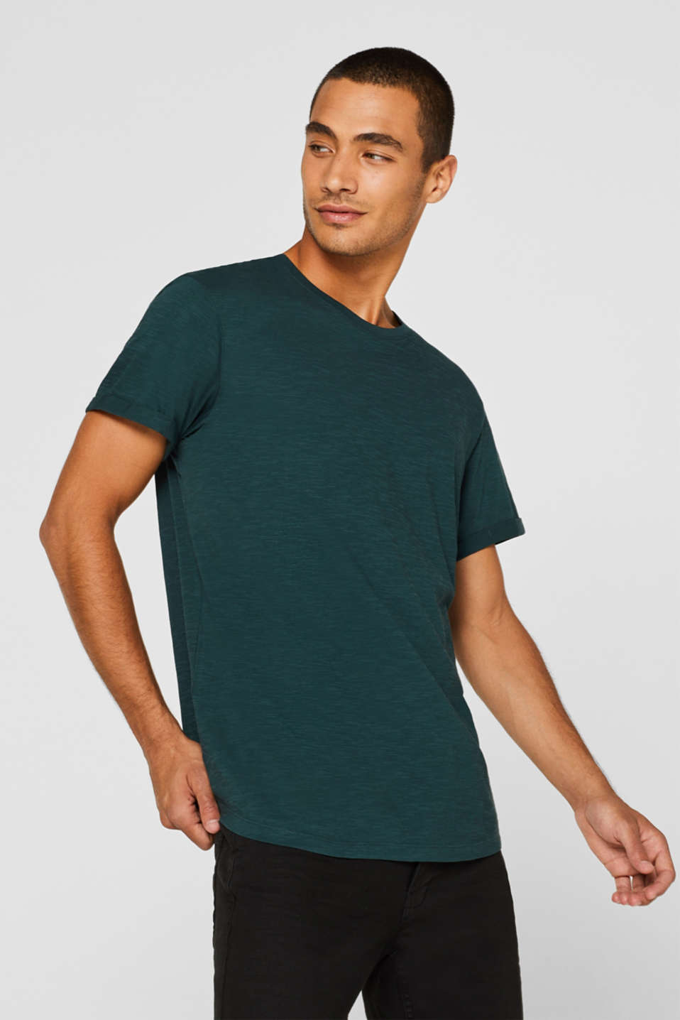 Slub jersey T-shirt in 100% cotton, TEAL BLUE, detail image number 0