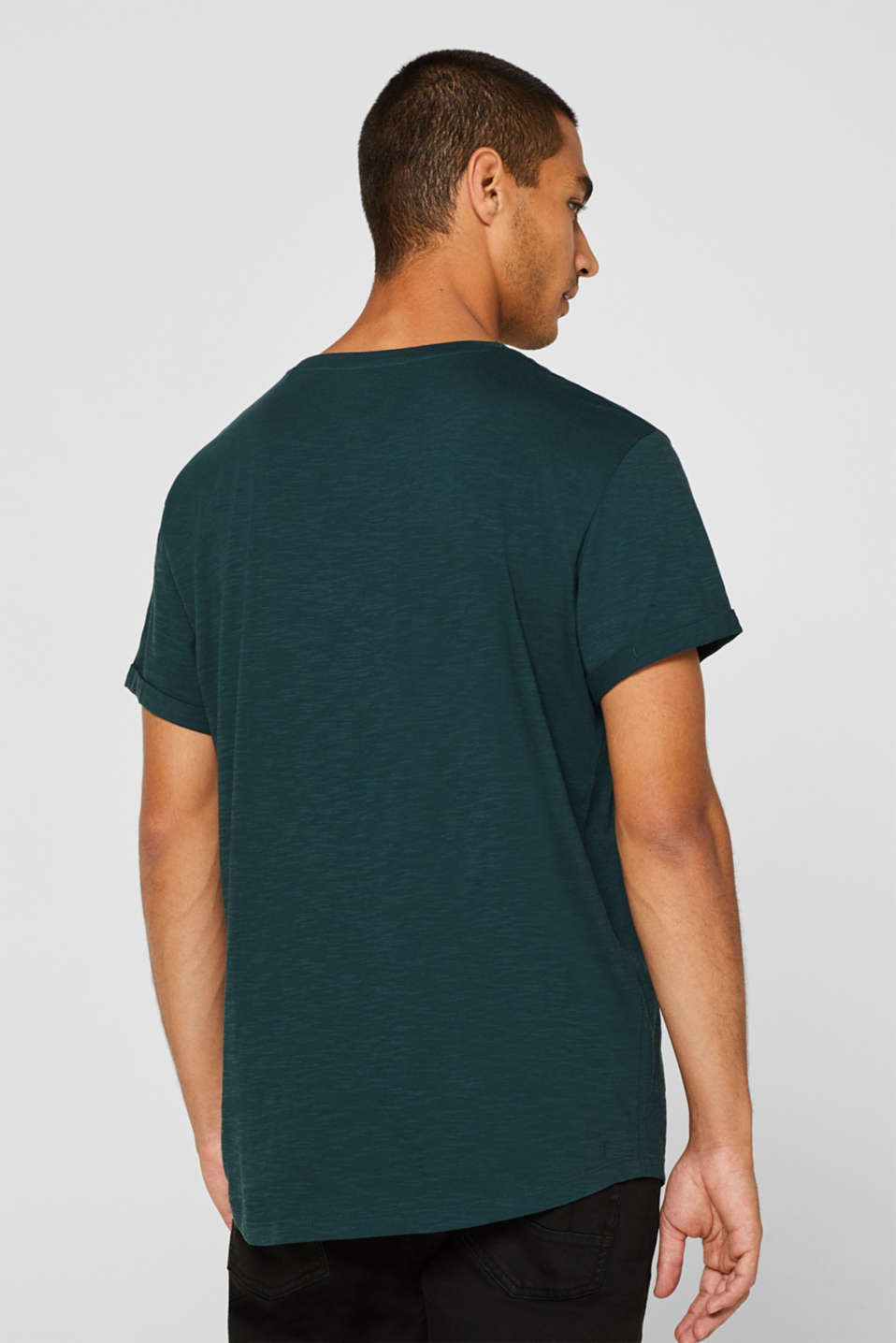 Slub jersey T-shirt in 100% cotton, TEAL BLUE, detail image number 3
