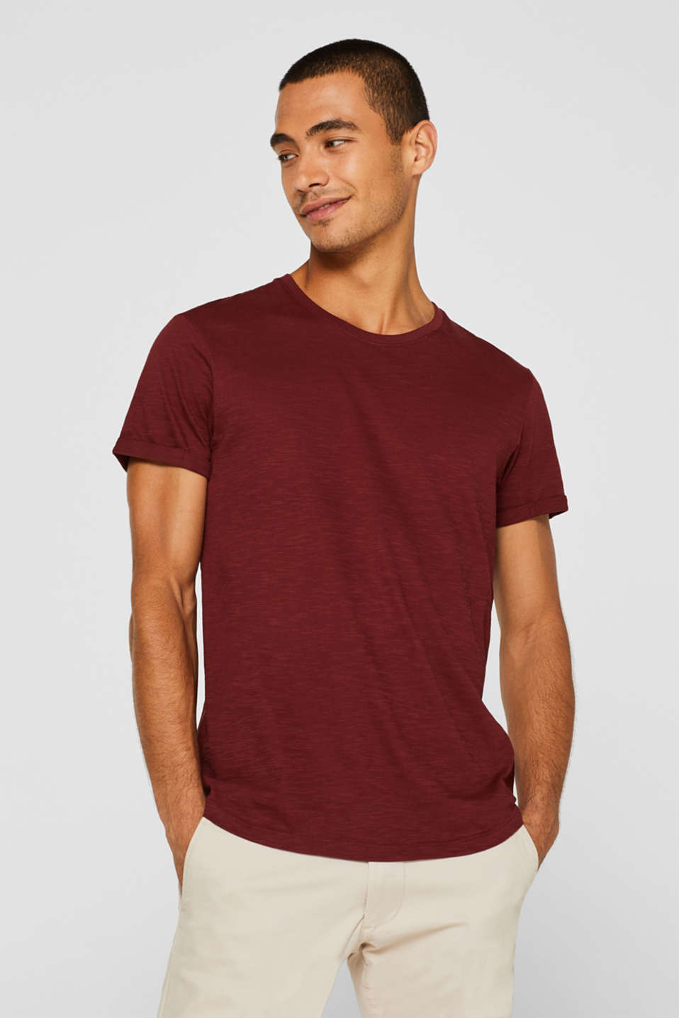 Slub jersey T-shirt in 100% cotton, TERRACOTTA, detail image number 0