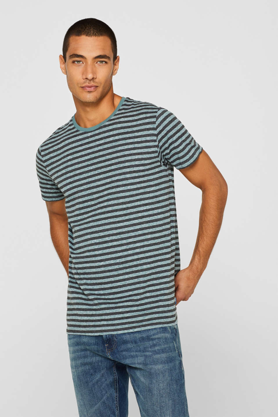 Striped jersey T-shirt, DUSTY GREEN, detail image number 0