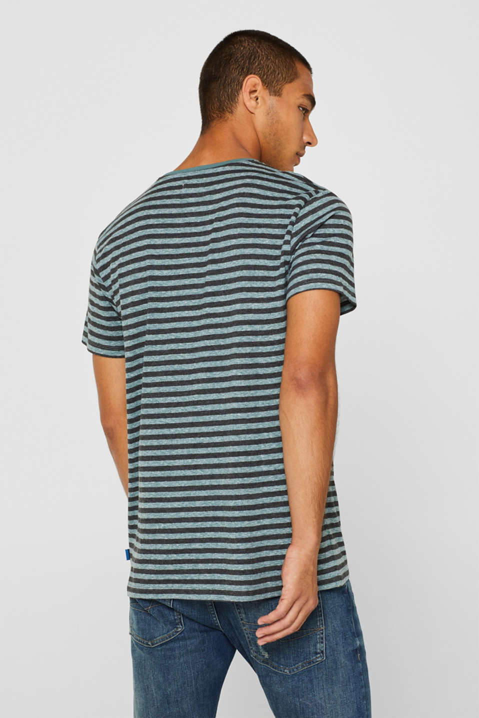 Striped jersey T-shirt, DUSTY GREEN, detail image number 3