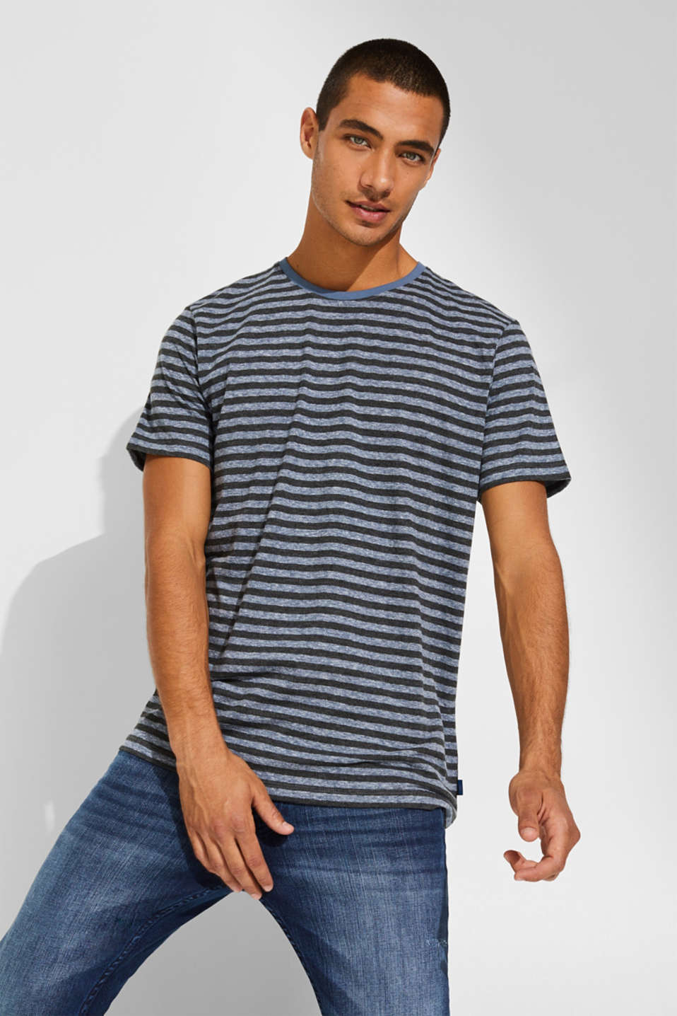 Striped jersey T-shirt, BLUE, detail image number 0