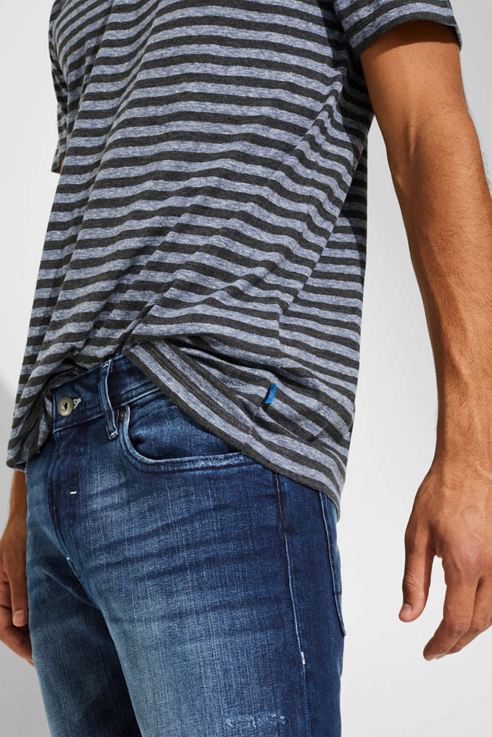 Striped jersey T-shirt, BLUE, detail image number 1