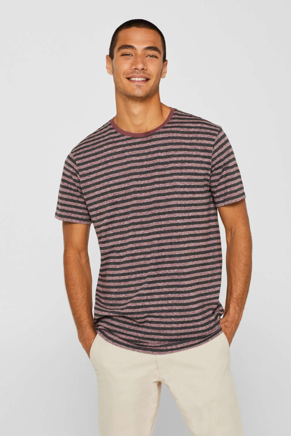 Striped jersey T-shirt, GARNET RED, detail image number 0