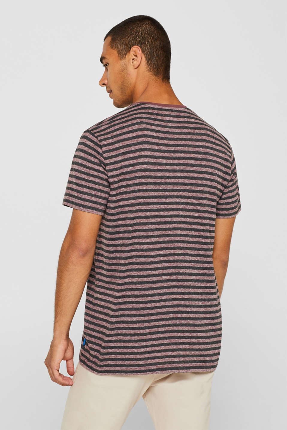 Striped jersey T-shirt, GARNET RED, detail image number 3
