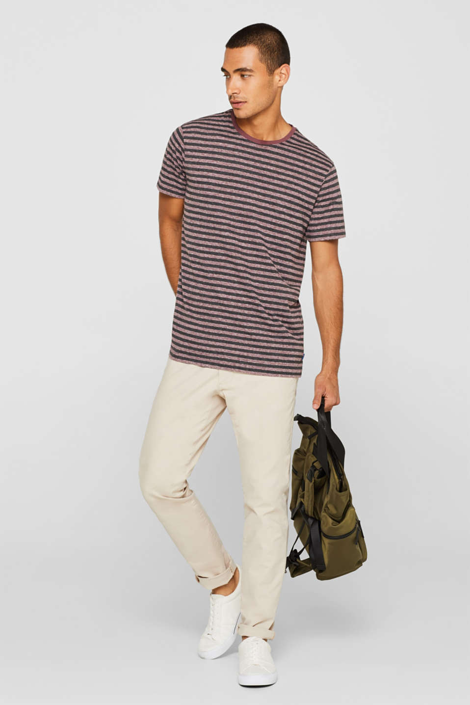 Striped jersey T-shirt, GARNET RED, detail image number 2