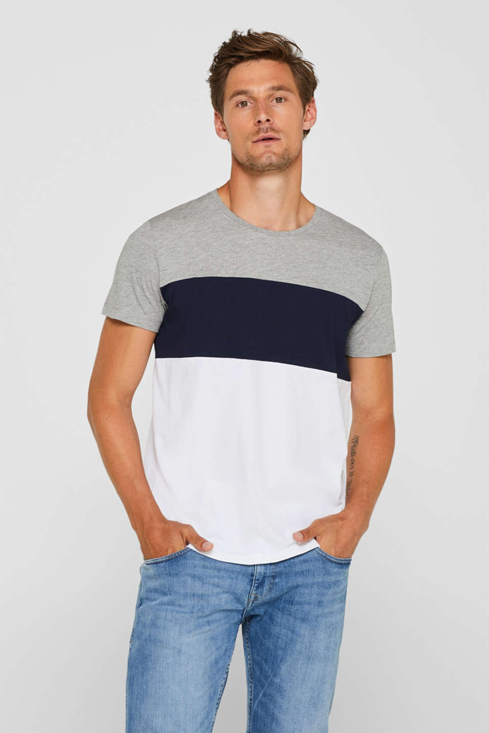 Jersey T-shirt with colour blocking, MEDIUM GREY, detail image number 0