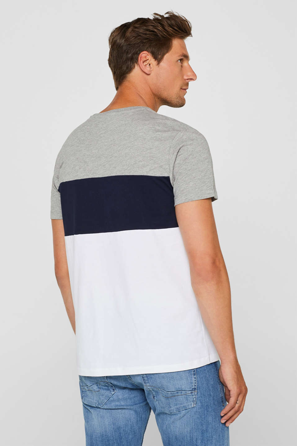Jersey T-shirt with colour blocking, MEDIUM GREY, detail image number 3