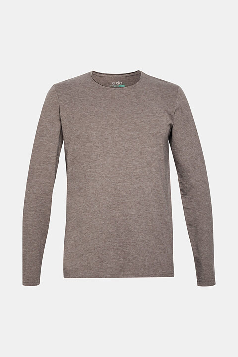 Long sleeve top made of slub jersey with organic cotton