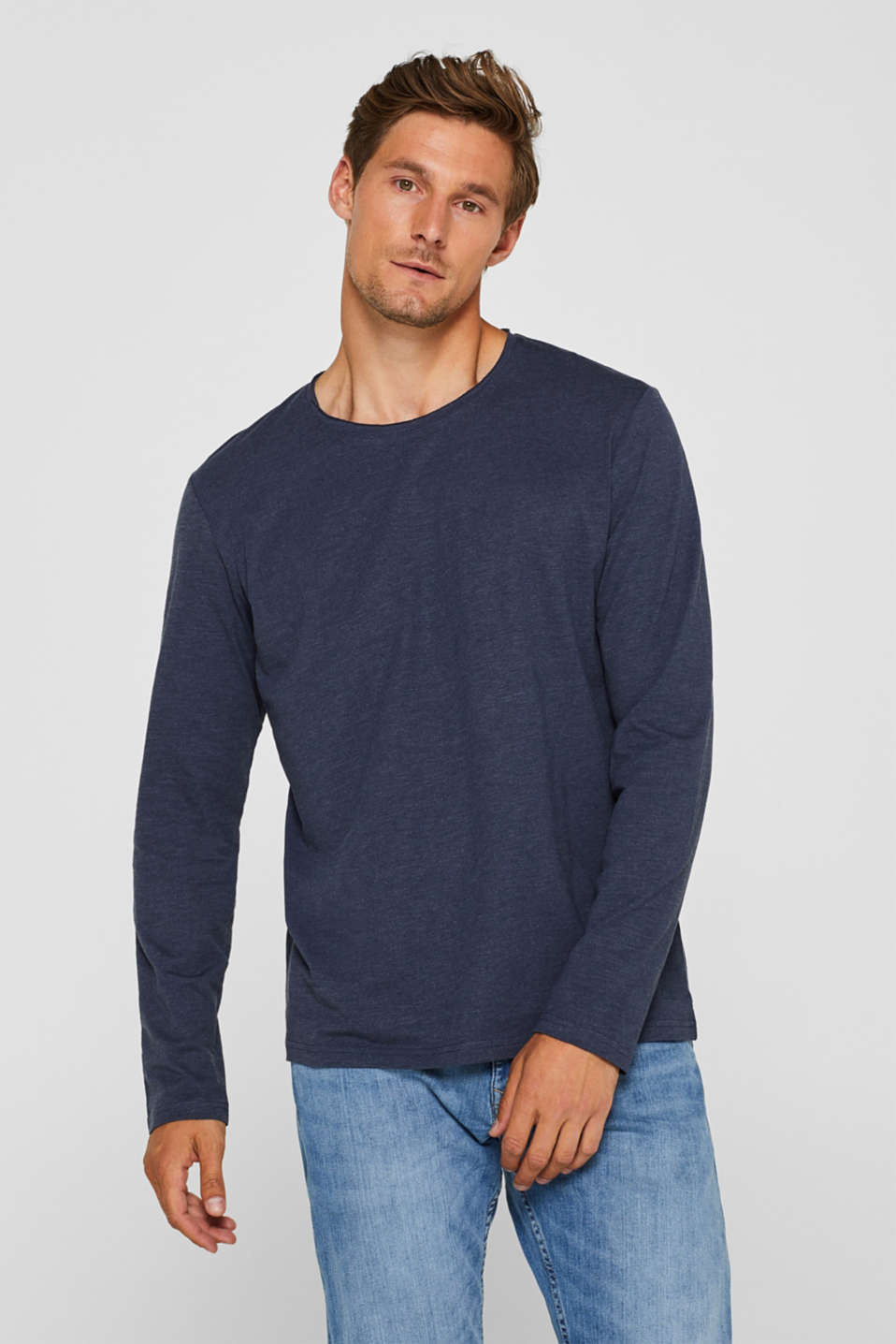 Long sleeve jersey top in blended cotton, NAVY, detail image number 0