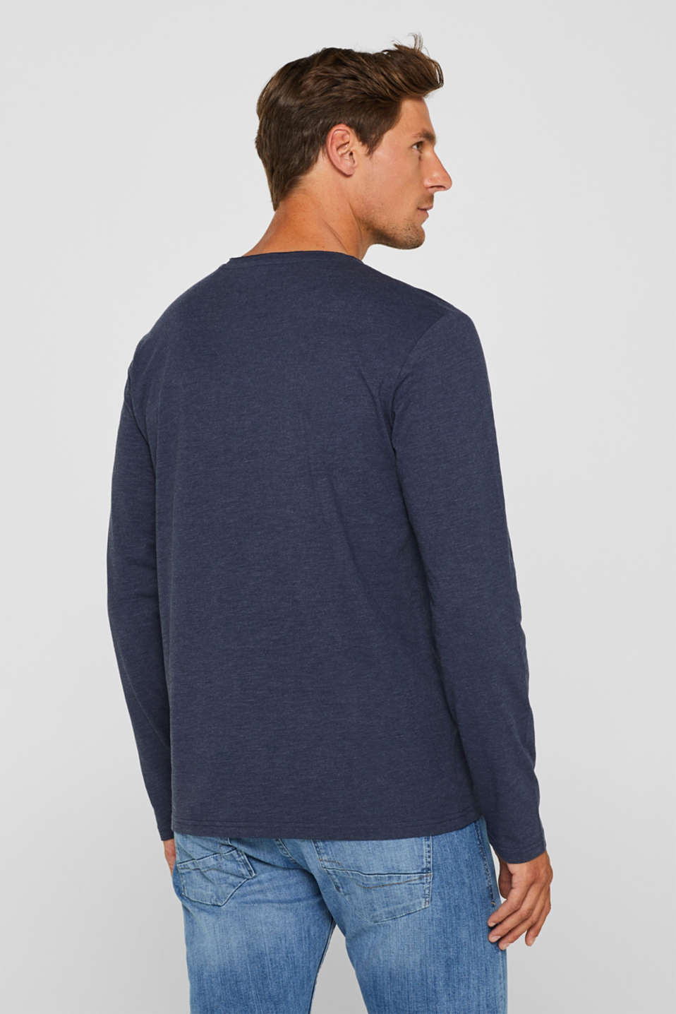 Long sleeve jersey top in blended cotton, NAVY, detail image number 3