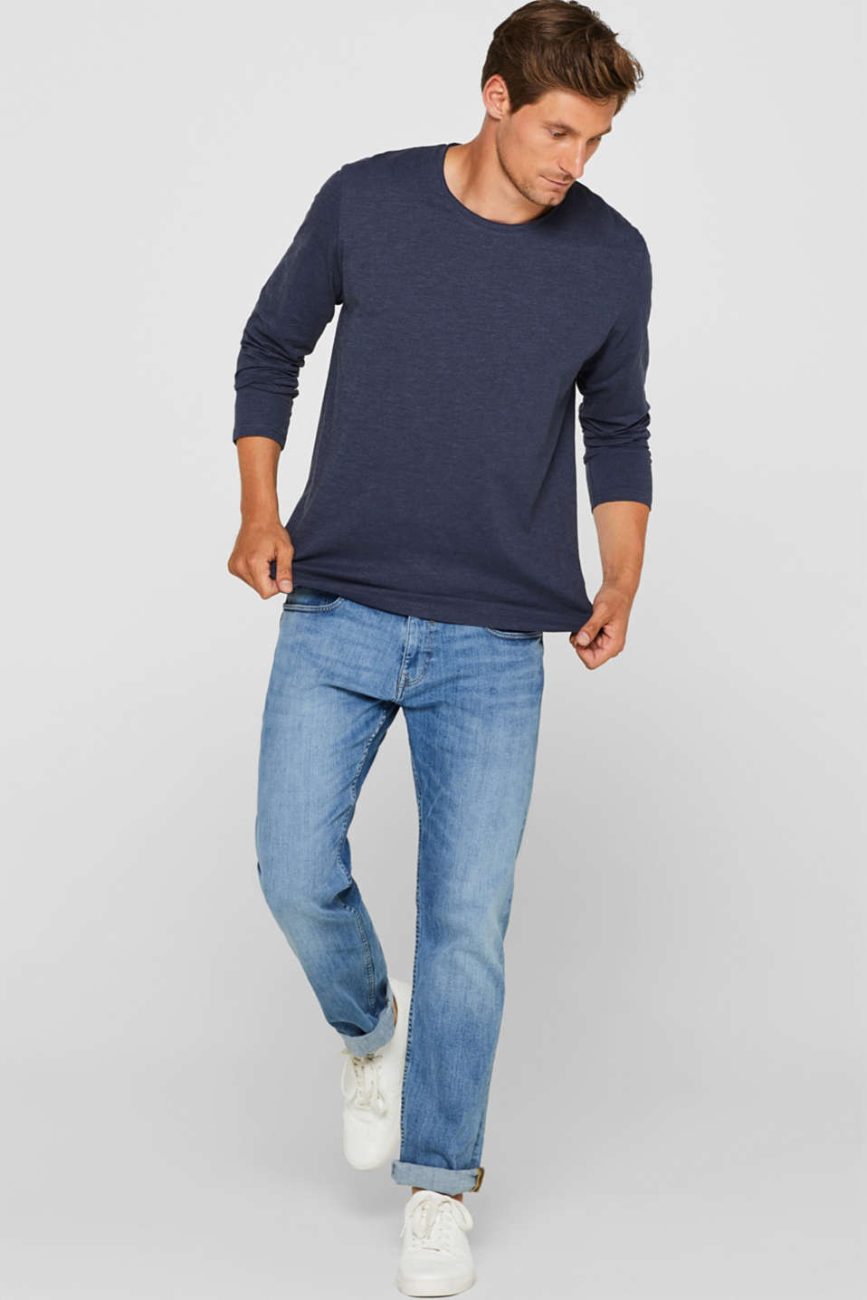 Long sleeve jersey top in blended cotton, NAVY, detail image number 4