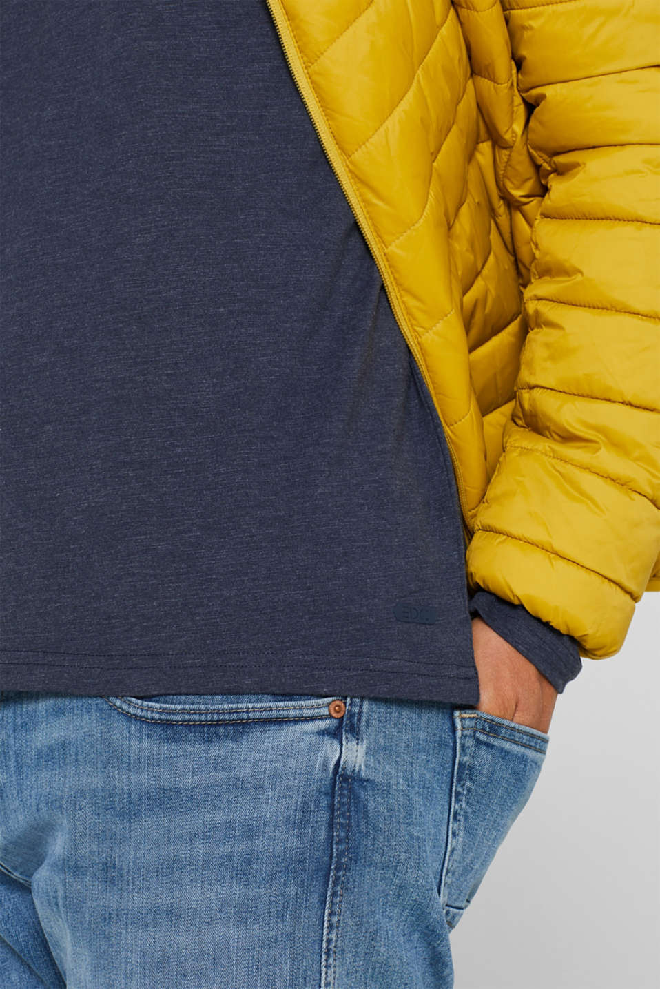 Long sleeve jersey top in blended cotton, NAVY, detail image number 1