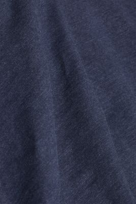 Long sleeve jersey top in blended cotton, NAVY, detail