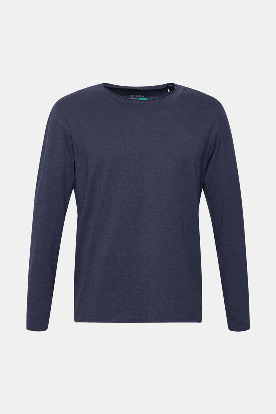 Long sleeve jersey top in blended cotton, NAVY, detail image number 7
