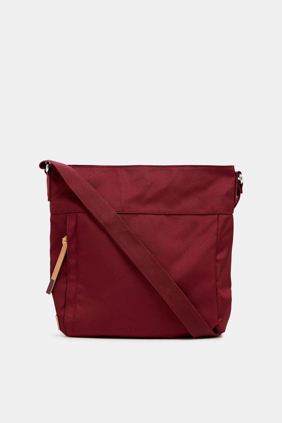 Nylon shoulder bag, BORDEAUX RED, detail image number 0