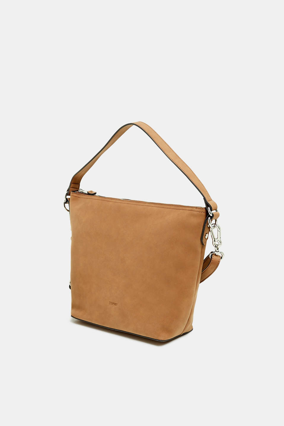 Small shoulder bag in faux nubuck leather, RUST BROWN, detail image number 2