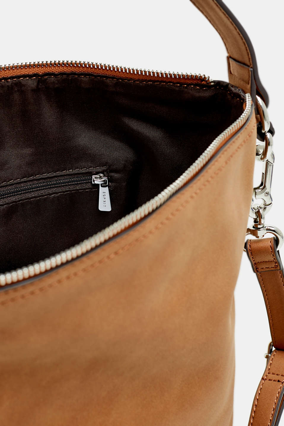 Small shoulder bag in faux nubuck leather, RUST BROWN, detail image number 4