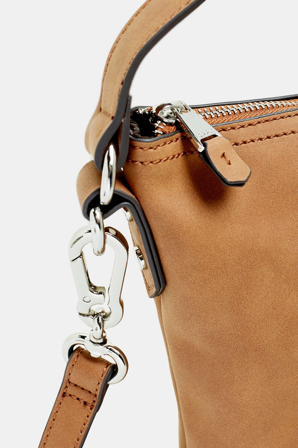 Small shoulder bag in faux nubuck leather, RUST BROWN, detail image number 3