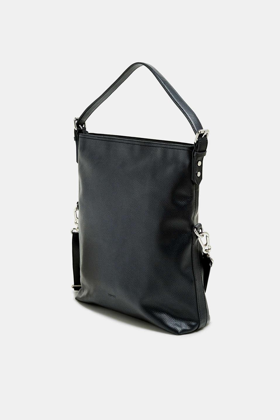 Flap-over bag in vegan faux leather, BLACK, detail image number 2