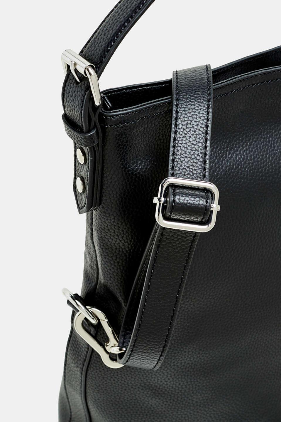 Flap-over bag in vegan faux leather, BLACK, detail image number 3