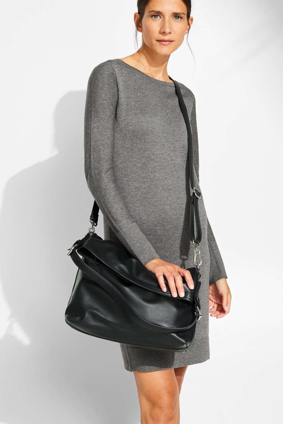 Flap-over bag in vegan faux leather, BLACK, detail image number 1