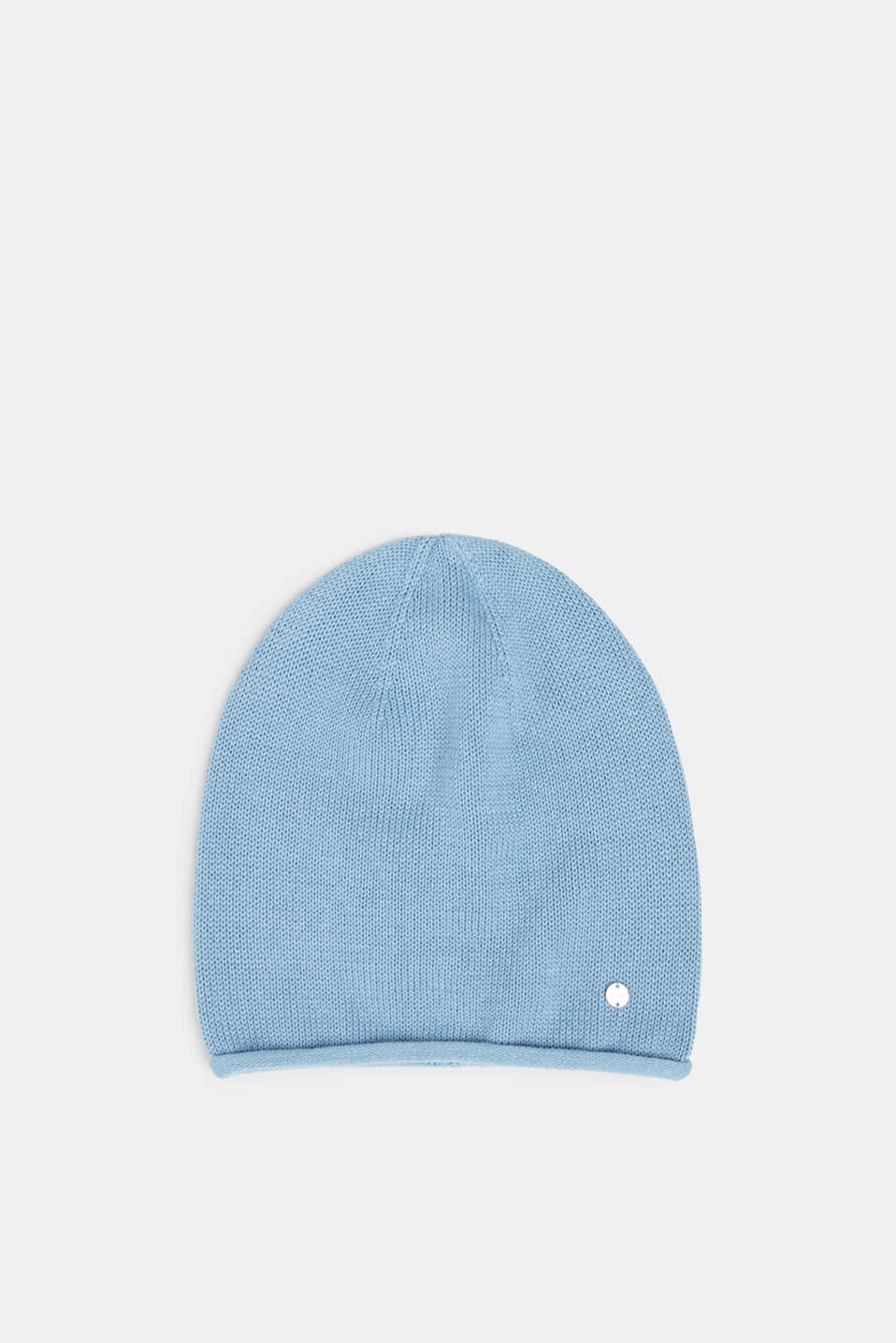Knitted beanie in 100% cotton, LIGHT BLUE, detail image number 0