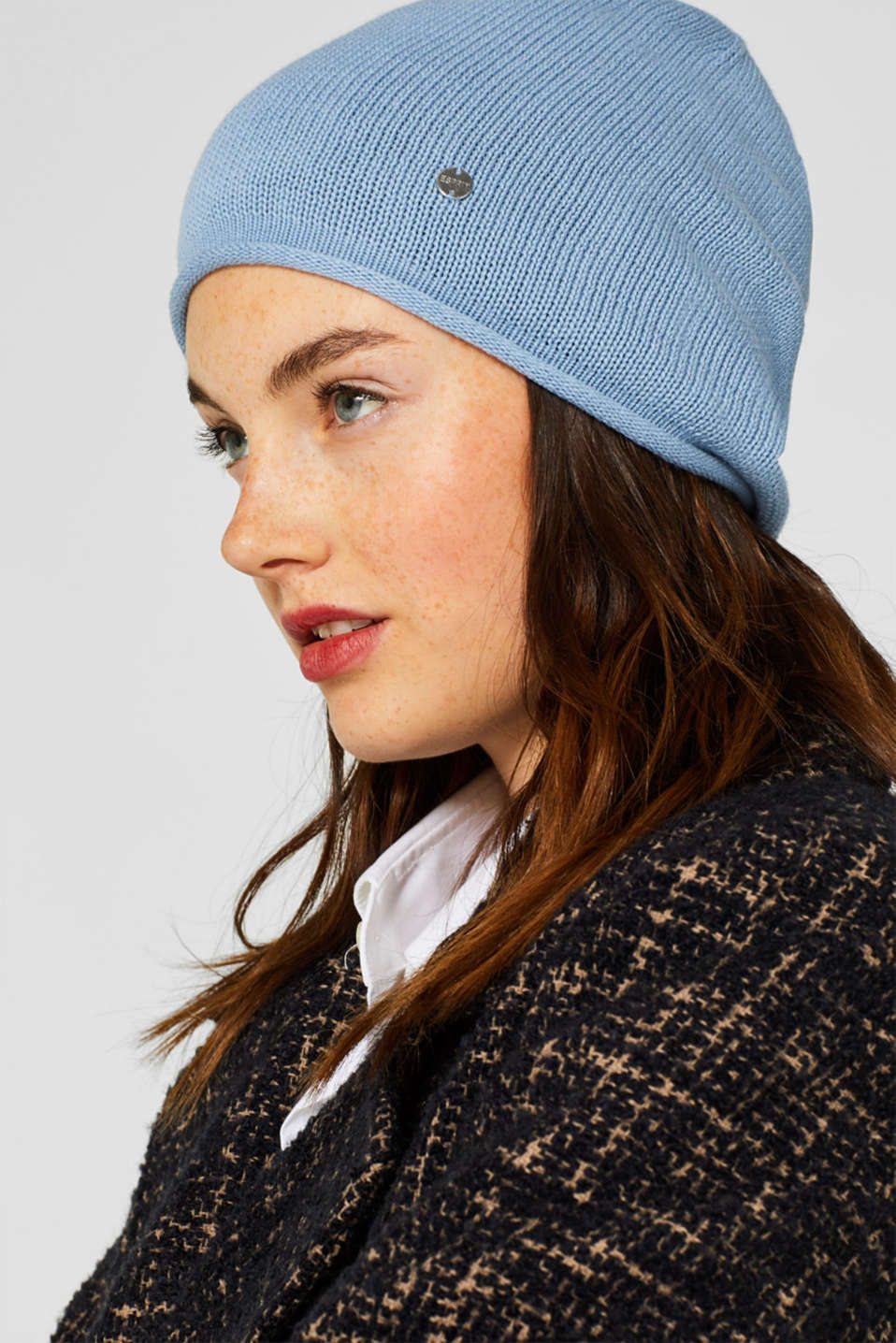 Knitted beanie in 100% cotton, LIGHT BLUE, detail image number 2