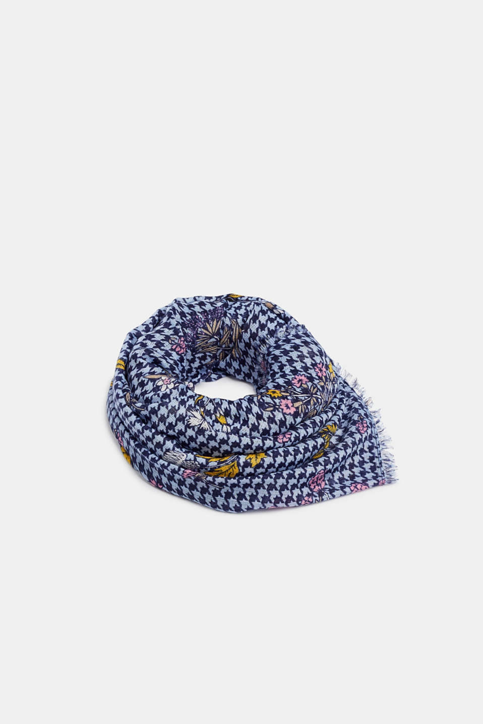 Pepita check scarf with a floral print, BLUE, detail image number 0