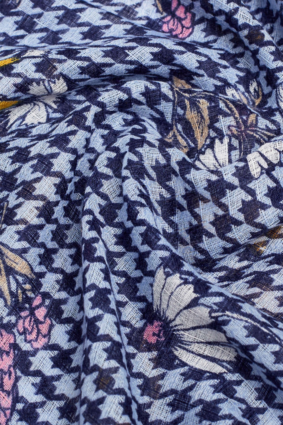Pepita check scarf with a floral print, BLUE, detail image number 2