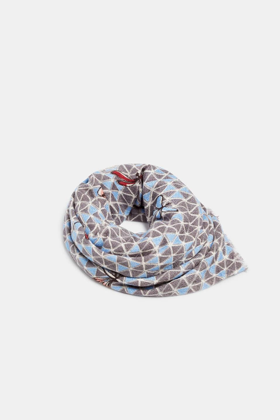 Dragonfly print scarf, LIGHT BLUE, detail image number 0