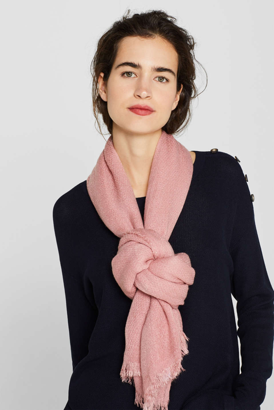 Fringed woven scarf, BLUSH, detail image number 1