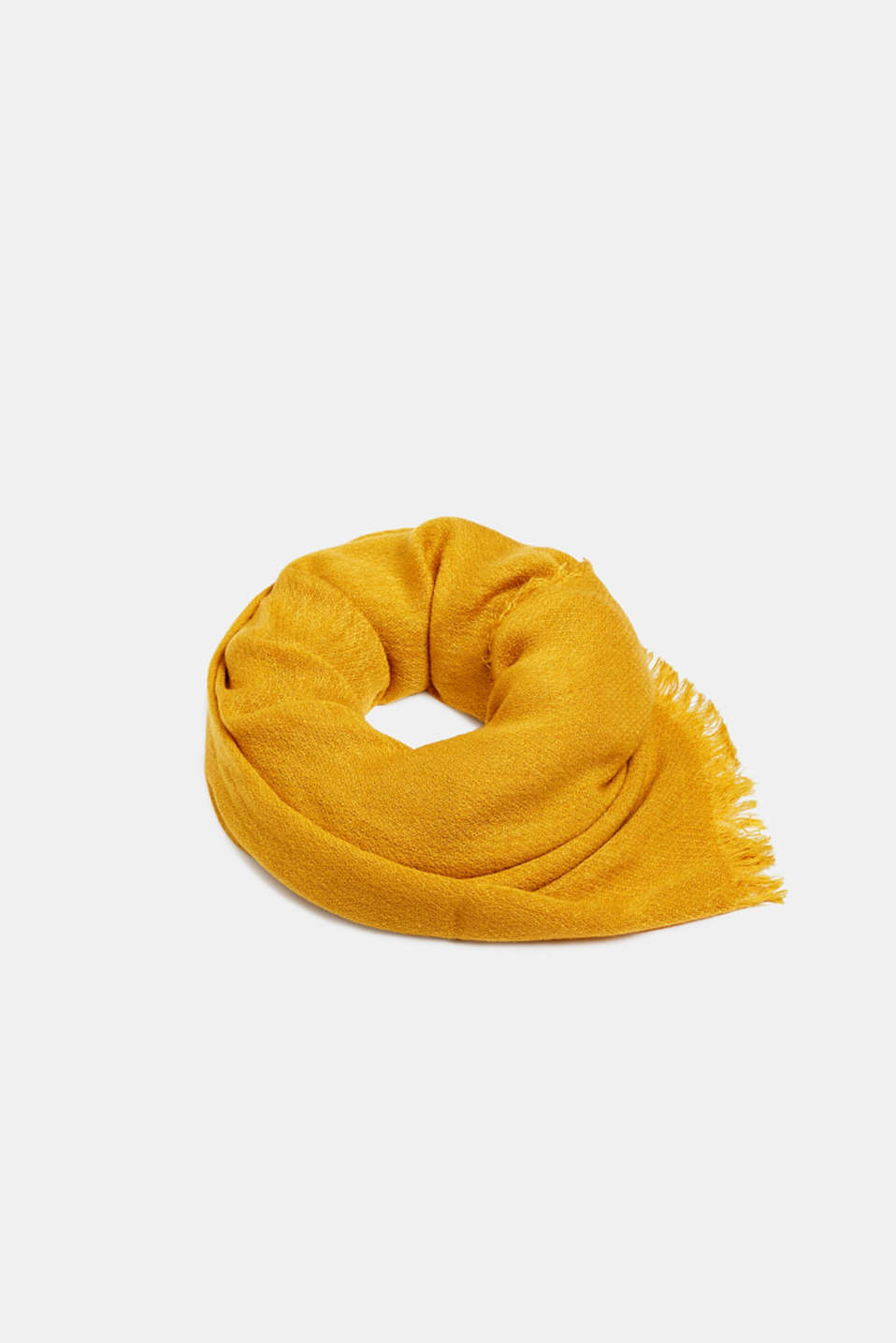 Fringed woven scarf, HONEY YELLOW, detail image number 0