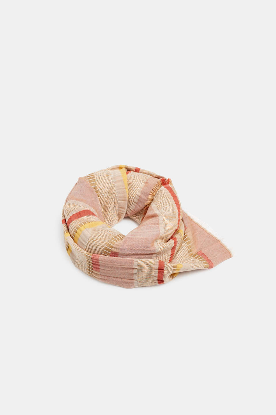 Woven stripe scarf containing LENZING™ ECOVERO™, BEIGE, detail image number 0