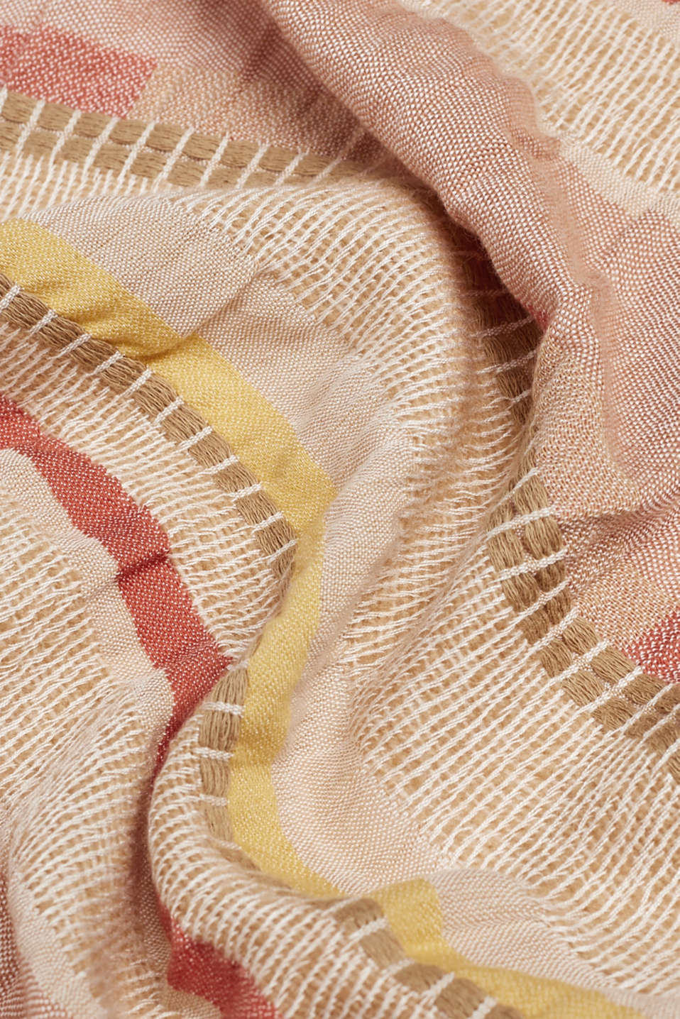 Woven stripe scarf containing LENZING™ ECOVERO™, BEIGE, detail image number 2