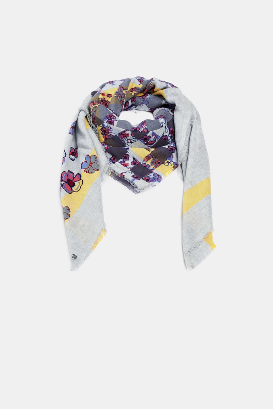 Esprit - Woven scarf with a floral print, 100% cotton